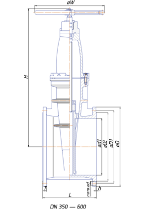 30ч39р Чугунные задвижки с обрезиненным клином чертеж 2